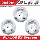 WHITE 180FT BNC CABLES FOR LOREX LH16243TC129B, LH16162TC129B, LH1561620B, ECO6