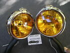 NEW PAIR SMALL 12 - VOLT AMBER VINTAGE STYLE FOG LIGHTS WITH FOG CAP ON LIGHTS !