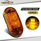 "2X 2.5"" Clearance Amber Oval Led Lamp 2 Diode Trailer Truck Side Marker Light"