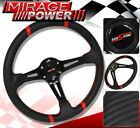 FOR PONTIAC 350MM PVC LEATHER CARBON STEERING WHEEL 6-BOLT MOUNT + HORN BUTTON