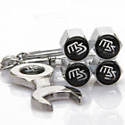 4x Auto Car Tyre Stems Air Cover Valve Caps + Wrench Keychain For Black ms MS
