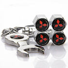 4x Auto Car Tyre Stems Air Cover Valve Caps + Wrench Keychain For  hot