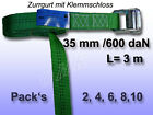 Tension Belt, Lashing Strap with Clamping Lock Green 35 mm 800 Dan L = 3 M