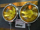 NEW SMALL OF 12 - VOLT AMBER VINTAGE STYLE FOG LIGHTS WITH FOG CAP ON LIGHTS !
