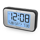 Sharp Large LCD Clock with Brushed Metal Finish - Low Vision, Easy to Use, Big