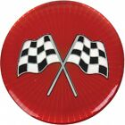 "Wheel Spinner Emblem Set, With Crossed-Flags Design, 1-3/4"", Red"