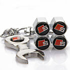4x Car Tyre Stems Air Cover Valve Caps + Wrench Keychain Key ring For Sline hot
