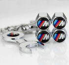 4pcs  Auto Car Tyre Stems Air Cover Valve Caps + Wrench Keychain For M sports