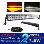 240w 42 inch Curved Amber white color led light bar for truck jeep 4x4 offroad