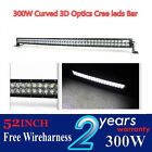 300w 52inch 3D Cree Curved led work/light bar Spot Flood Combo Beam for suv