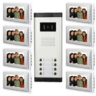 "8 Unit Apartment Visual Intercom System 7"" Video Door Phone Doorbell IR Camera"