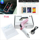 Pink Bluetooth Car FM Transmitter Handsfree Radio Adapter MP3 Charger Fit Audi