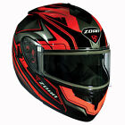 Zoan Optimus Eclipse Orange Dual Lens Modular Flip Up Snowmobile Riding Helmet