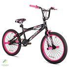 """20"""" BMX Girls Bike Black Pink Steel Frame Bicycle Single Speed Ride"""