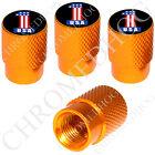 4 Gold Billet Aluminum Knurled Tire Air Valve Stem Caps - America USA # 1 Black