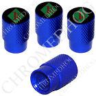 4 D Blue Billet Aluminum Knurled Tire Air Valve Stem Caps - 1% ER Percenter GDBR
