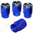 4 D Blue Billet Aluminum Knurled Tire Air Valve Stem Caps - Chrome Skull F