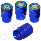 4 D Blue Billet Aluminum Knurled Tire Air Valve Stem Caps - USA USCG Coast Guard