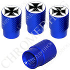 4 D Blue Billet Aluminum Knurled Tire Air Valve Stem Caps - Black Iron Cross Wht