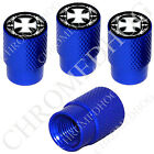 4 D Blue Billet Aluminum Knurled Tire Air Valve Stem Caps - Iron Cross IC OWB