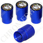4 D Blue Billet Aluminum Knurled Tire Air Valve Stem Caps - USMC Devil Dog B
