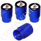 4 D Blue Billet Aluminum Knurled Tire Air Valve Stem Caps - Pin Up Lucky #13 SWB