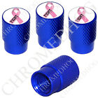 4 D Blue Billet Aluminum Knurled Tire Air Valve Stem Caps - Pink Ribbon White F
