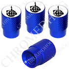 4 D Blue Billet Aluminum Knurled Tire Air Valve Stem Caps - Black FU Finger Wt