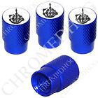 4 D Blue Billet Aluminum Knurled Tire Air Valve Stem Caps - Gray FU Finger Wt