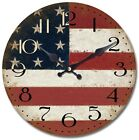 Yosemite Home Decor 14 in. Circular Wooden Wall Clock with American Flag Print