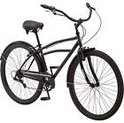"29"" Men's Cruiser Bike Bicycle W/ Fender 7 Speed Steel Frame Black Retro Outdoor"