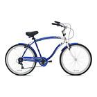 "Cruiser Bike 26"" Men BCA Charleston Shimano 7 Speed Beach Commuter Blue Bicycle"
