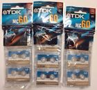 New TDK MC60 Microcassette Tapes Blank 3 X 3 Pack Dictation Answering