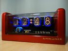 Nixie Clock 4xIN-12 tubes golden red case & alarm steampunk retro cold war era