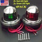 4X Marine Boat Pontoons Yacht Light 12V Stainless Steel LED Bow Navigation Light