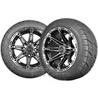Element 12x7 Black & Machined Golf Cart Wheels with Low Profile Street Tire Set