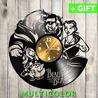 Beauty and The Beast Clock vinyl record Disney Vinyl Wall Decal sticker Art gift
