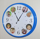 """12"""" Round Blue Photo Frame Wall Clock holds 1 to 12 Picture Photo Frames"""