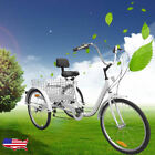"NEW! Adult Tricycle 3 Wheel Bicycle 6-SpeedCruise 24"" Bike White"