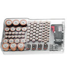 Battery Organizer Storage Box Rack Case w/ Hinged Clear Cover Removable Tester