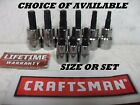 "NEW CRAFTSMAN TORX SOCKET BIT STAR 1/4"", 3/8"" OR 1/2"" DRIVE CHOOSE SINGLE SET"