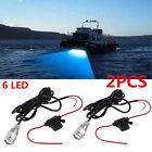 "2PCS Blue 6LED 1/2"" NPT Underwater Boat Drain Plug Light + connector for fishing"