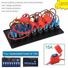 8 Gang 12V/24V Car Marine Boat LED Switch Panel Breaker Circuit Dual USB Charger