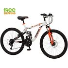 "Aluminum Mountain Bike Boy 24"" Mongoose Full Suspension  Bicycle Shimano White"