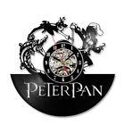 Record Wall Clock Vinyl Peter Pan Home Decor Hanging Clock Cartoon Theme Kids