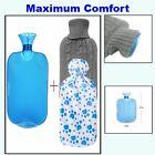 All one tech Hot Water Bottle with Knit Cover For Quick Pain And Comfort Blue