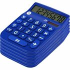 8 Digit Dual Powered Calculator with LCD Display, Blue (Pack of 6)