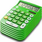 8 Digit Dual Powered Calculator with  LCD Display, Green (Pack of 6)