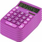 8 Digit Dual Powered Calculator with Large LCD Display, Lavender (Pack of 6)