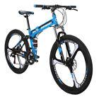 """Folding Mountain Bike 26"""" 21 Speed 26 Inch 3 Spoke Wheels DaulSuspension Bicycle"""
